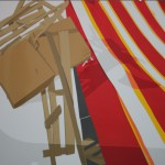 The last cartridge, 2008. adhesive tape, vinyl on metal, 160 x 205cm.