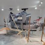 Game room, Installation, 2014,  Installative piece: 2007. Wood, PVC, enamels and vinyls,  490 x 250 cm. Centro Andaluz de Arte Contemporáneo.