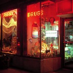 Drugstore Manhattan, New York, 2001-2004. Silicone color photograph on methacrylate, 32 x 26 cm