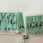 Behind the scene 1, 2015. Movement mechanisms, PVC, vinyl, plexiglass, aluminum. 180 x 90 x 25 cm.