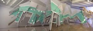 El triunfo del Tiempo y del Desengaño, 2012. Aluminio, vinilo, PVC, plexiglás y madera, Medidas variables