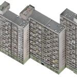 Axonometric Housing Estate, Manhattan, 2007.Lambda D print mounted on plexiglas, 97 x 131 cm