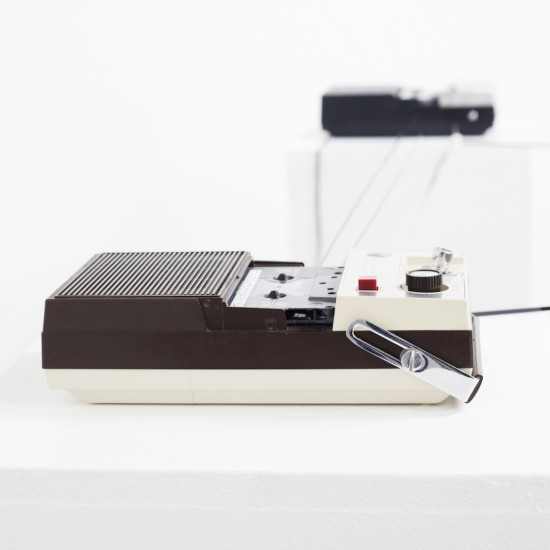 ADAM BASANTA. Message Past Future. Soun installation 2015. 55x55x50. 3 portable cassette-tape recorders, 3 modified cassette tapes, electronics.