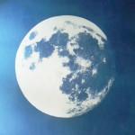 S.T. Contact. La Luna. Luna de cosecha retratada por sol de equinoccio de otoño, 2016. Solarization. 76 x 66 cm. Unique