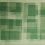 Heliographia I (green), 2016. Velvet mounted on wooden board, 90x100 cm