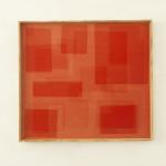 Heliographia I (scarlet), 2016. Velvet mounted on wooden board, 90x100 cm