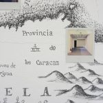 Iván Candeo, Drawing in-situ from a seventeenth century map on the gallery wall intervened with Polaroids, 2019, Mural, Detail.