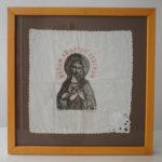 RAFAEL AGREDANO. Mecum ad latus vestrum. Serigraphy on handkerchief. 26 x 26 cm